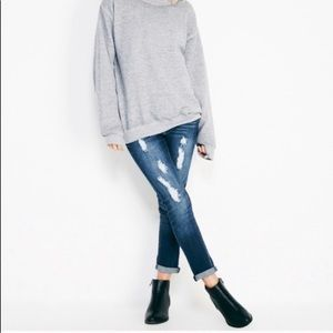Wetseal roll cuff skinny jeans in light wash
